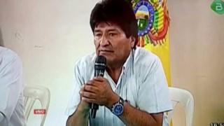 O Presidente boliviano no momento em que anunciou a sua resignação