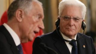 O Presidente da República, Marcelo Rebelo de Sousa, ladeado pelo Presidente da República de Itália, Sergio Mattarella