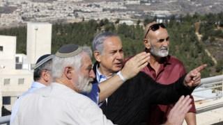 Benjamin Netanyahu visita um dos colonatos de Gush Etzion, na Cisjordânia