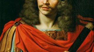 Molière, retratado por Nicolas Mignard, em 1658, encarnando César em <i>A Morte de Pompeia</i>, tragédia de Pierre Corneille