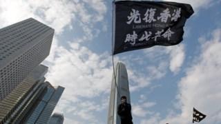 Um protestante em Hong Kong