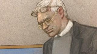 Julian Assange na audiência judicial desta segunda-feira