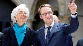 Christine Lagarde, presidente do BCE, com Jans Weidmann, governador do Bundesbank