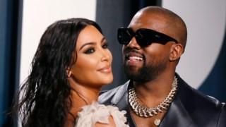 Kim Kardashian com o marido, o <i>rapper</i> Kanye West