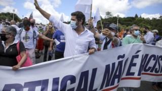 André Ventura à frente da manifestação de sábado