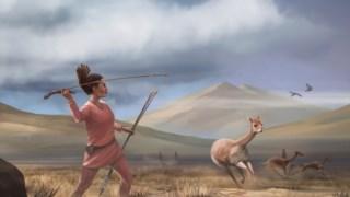 Ilustração de uma mulher caçadora há 9000 anos nos Andes