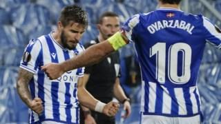 Portu, jogador da Real Sociedad, celebra um golo ao serviço do emblema basco