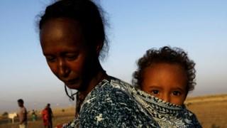 Refugiados etíopes a caminho da fronteira com o Sudão, em fuga dos confrontos na região de Tigré