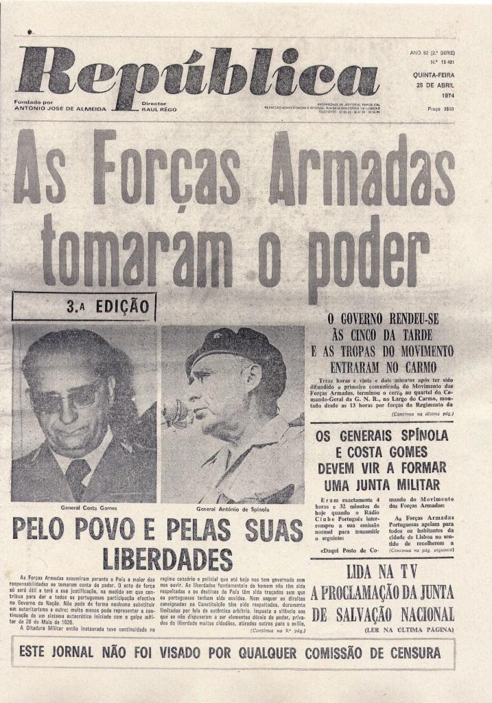 Capas de jornais de 25 de Abril a 2 de Maio de 1974